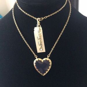 NWT Lucky Brand navy blue and gold heart necklace